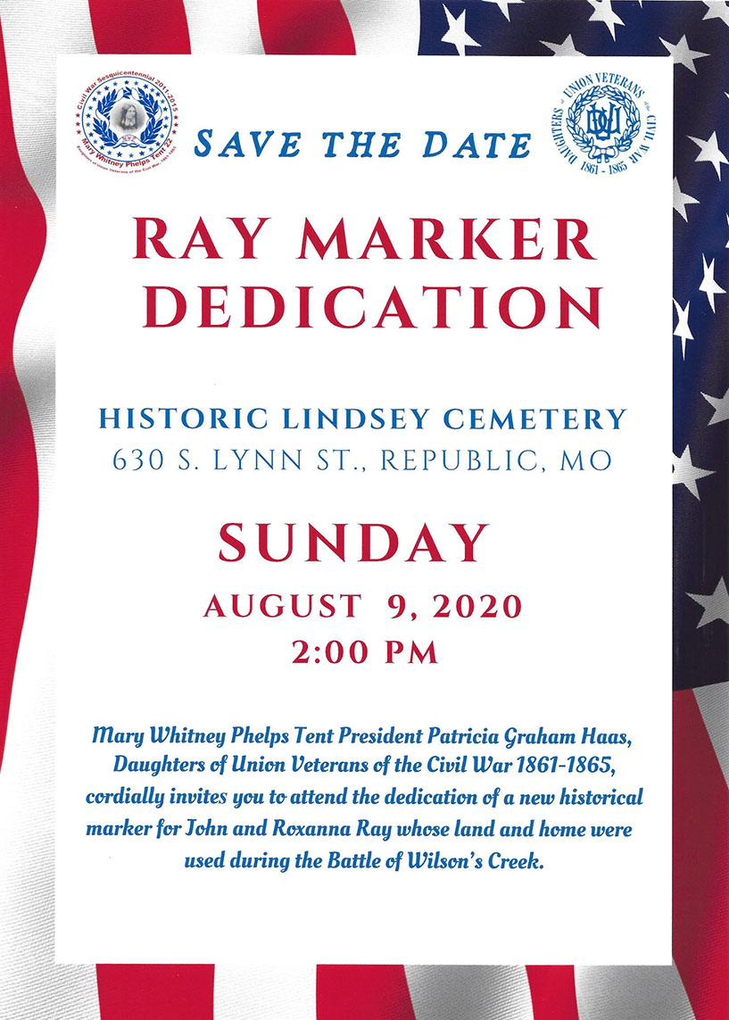 Save the Date Ray Historical Marker Dedication Aug 9 2020